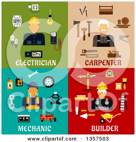 Clipart of Flat Style Electrician, Carpenter, Mechanic and Builder Designs - Royalty Free Vector Illustration by Vector Tradition SM