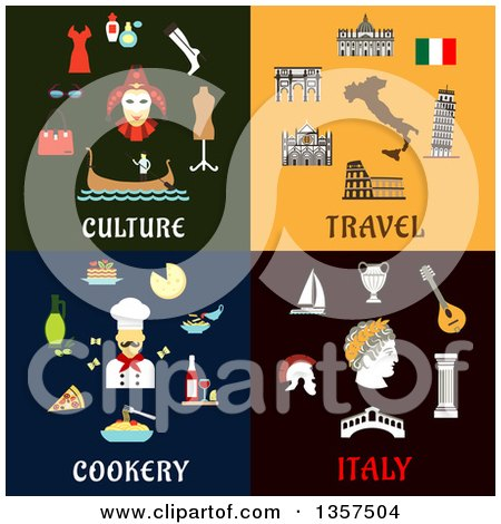 Clipart of Flat Design Culture, Travel Cookery and Italy Designs - Royalty Free Vector Illustration by Vector Tradition SM