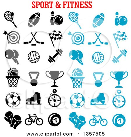 Clipart of Blue and Black Sports and Fitness Icons - Royalty Free Vector Illustration by Vector Tradition SM