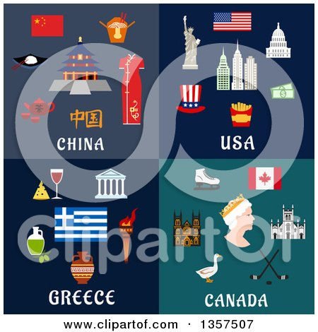 Flat Style China, Usa, Greece and Canada Designs Posters, Art Prints