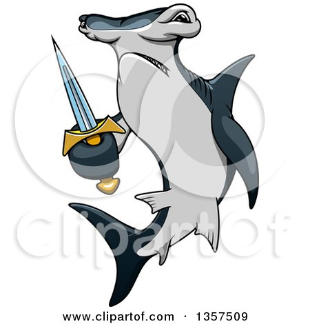 Clipart of a Cartoon Angry Hammerhead Shark Holding a Sword - Royalty Free Vector Illustration by Vector Tradition SM