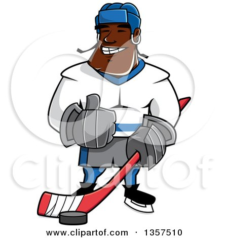 Clipart of a Cartoon Black Male Ice Hockey Player Giving a Thumb up - Royalty Free Vector Illustration by Vector Tradition SM
