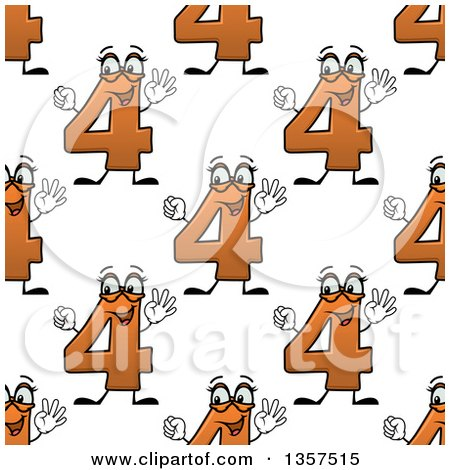Clipart of a Seamless Background Pattern of Cartoon Orange Number Four Characters - Royalty Free Vector Illustration by Vector Tradition SM
