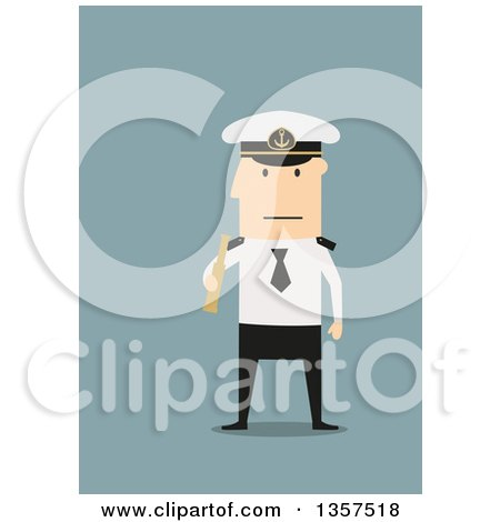 Clipart of a Flat Design White Male Captain Holding a Telescope, on Blue - Royalty Free Vector Illustration by Vector Tradition SM
