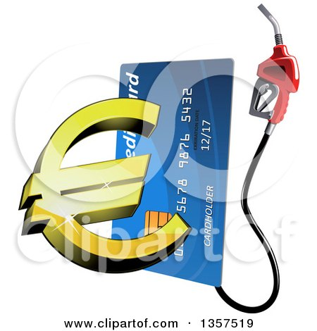 Clipart of a Blue Gas Pump Credit Card with a 3d Golden Euro Currency Symbol - Royalty Free Vector Illustration by Vector Tradition SM