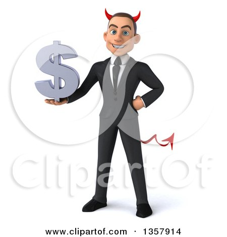 Clipart of a 3d Young White Devil Businessman Holding a Dollar Currency Symbol, on a White Background - Royalty Free Illustration by Julos