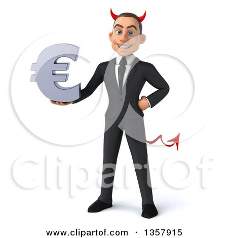 Clipart of a 3d Young White Devil Businessman Holding a Euro Currency Symbol, on a White Background - Royalty Free Illustration by Julos