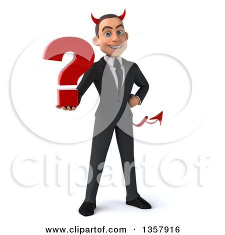 Clipart of a 3d Young White Devil Businessman Holding a Question Mark, on a White Background - Royalty Free Illustration by Julos
