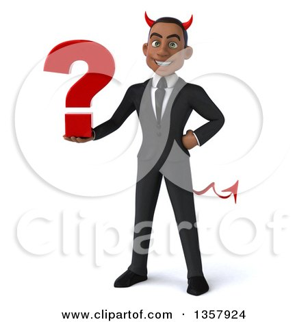 Clipart of a 3d Young Black Devil Businessman Holding a Question Mark, on a White Background - Royalty Free Illustration by Julos