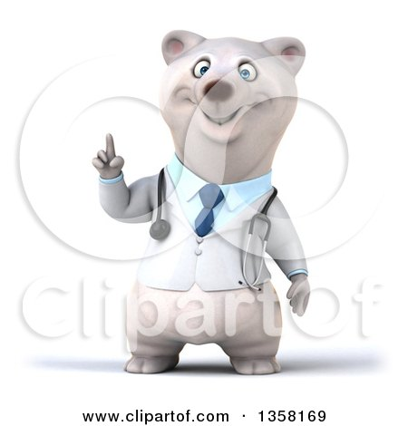 Clipart of a 3d Doctor Polar Bear Holding up a Finger, on a White Background - Royalty Free Illustration by Julos