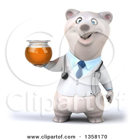Clipart of a 3d Doctor Polar Bear Holding a Honey Jar, on a White Background - Royalty Free Illustration by Julos