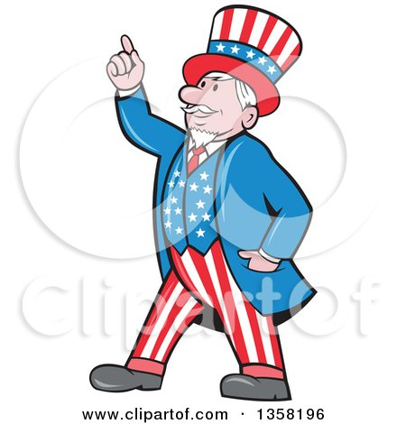 Clipart Of A Cartoon Uncle Sam In An American Patiotic Suit Holding Up A Finger Royalty Free Vector Illustration