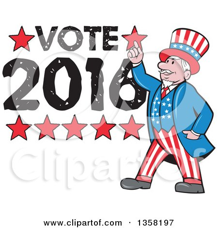Clipart of a Cartoon Uncle Sam in an American Patiotic Suit, Holding up a Finger over Vote 2016 Text - Royalty Free Vector Illustration by patrimonio