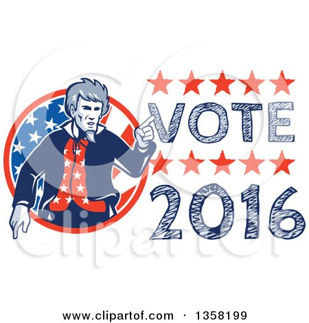 Clipart of a Retro Uncle Sam in an American Patiotic Suit, Pointing from a Circle by Vote 2016 Text - Royalty Free Vector Illustration by patrimonio