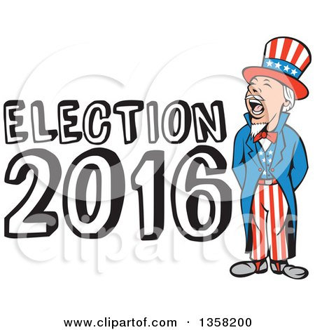 Clipart of a Cartoon Shouting Uncle Sam in an American Patiotic Suit with Election 2016 Text - Royalty Free Vector Illustration by patrimonio