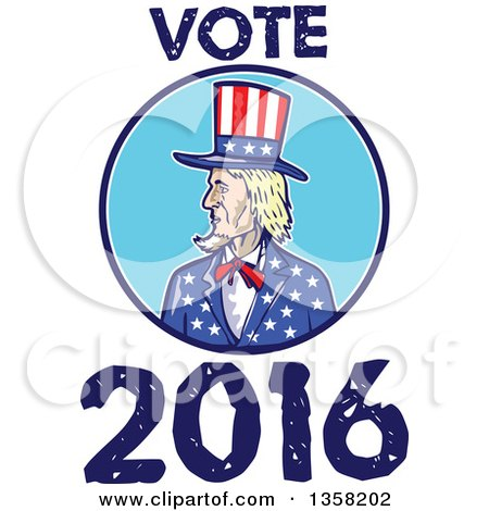 Clipart of a Cartoon Uncle Sam in an American Patiotic Suit, Inside a Circle with Vote 2016 Text - Royalty Free Vector Illustration by patrimonio