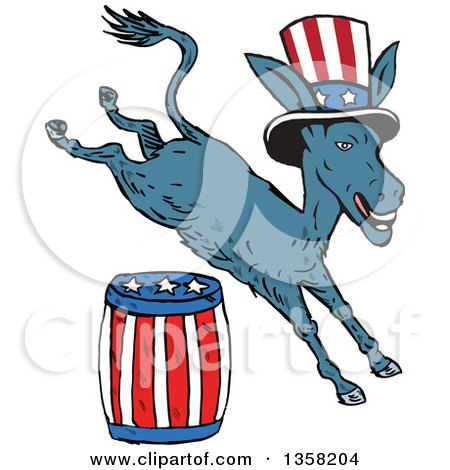 Clipart of a Cartoon Leaping Democrat Donkey Wearing a Top Hat and Jumping over an American Barrel - Royalty Free Vector Illustration by patrimonio