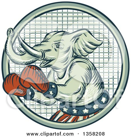 Clipart of a Retro Sketched or Engraved Political Elephant Boxer in a Circle - Royalty Free Vector Illustration by patrimonio