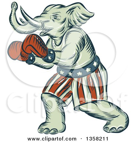 Clipart of a Retro Sketched or Engraved Political Elephant Boxer - Royalty Free Vector Illustration by patrimonio