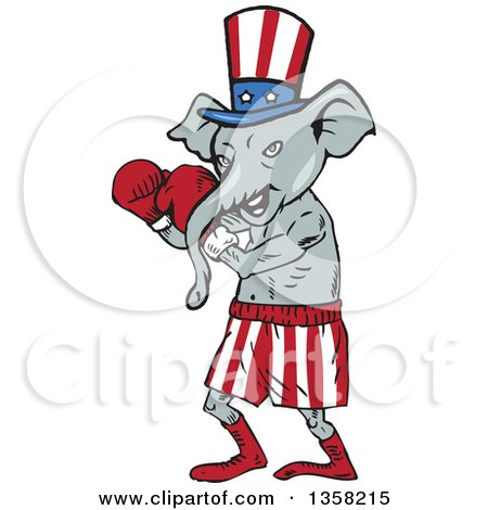 Clipart of a Cartoon Republican Elephant Boxer - Royalty Free Vector Illustration by patrimonio