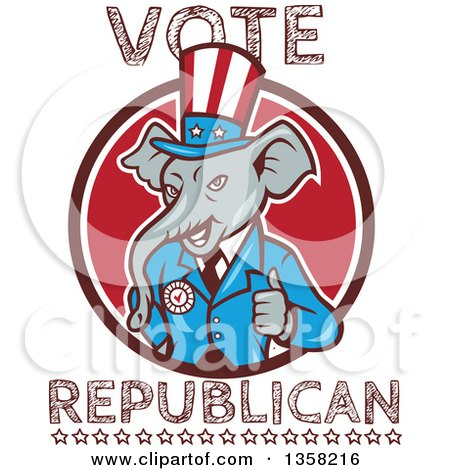 Clipart of a Retro Cartoon Elephant Giving a Thumb up with Vote Republican Text - Royalty Free Vector Illustration by patrimonio