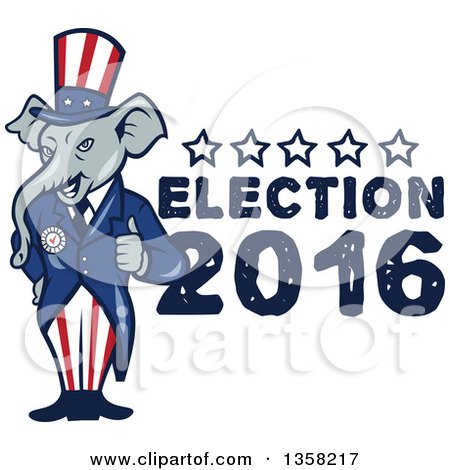 Clipart of a Cartoon Republican Elephant Giving a Thumb up with Election 2016 Text - Royalty Free Vector Illustration by patrimonio