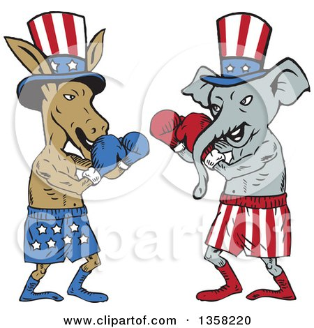 Clipart of Cartoon Democratic Donkey and Republican Elephant Boxers Ready to Fight - Royalty Free Vector Illustration by patrimonio
