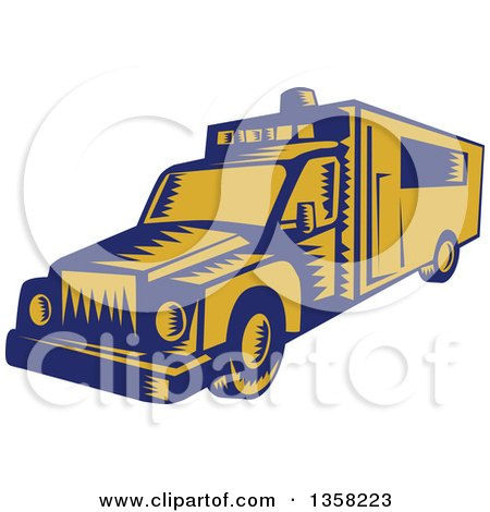 Clipart of a Retro Woodcut Blue and Yellow Ambulance - Royalty Free Vector Illustration by patrimonio