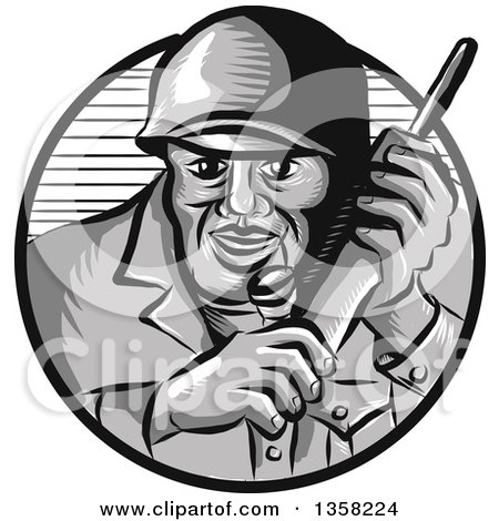 Clipart of a Retro Woodcut World War Two Soldier Holding a Field Radio in a Gray and Navy Blue Circle - Royalty Free Vector Illustration by patrimonio