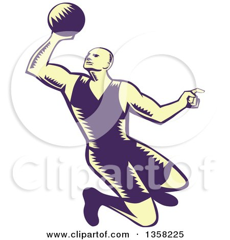 Clipart of a Retro Pastel Yellow and Navy Blue Woodcut Male Basketball Player Slam Dunking - Royalty Free Vector Illustration by patrimonio
