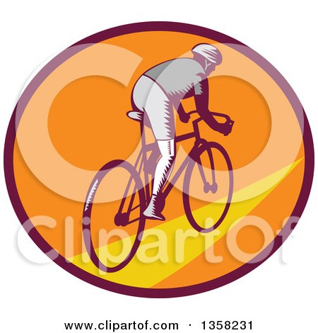 Clipart of a Retro Woodcut Cyclist Riding Away in a Purple Orange and Yellow Oval - Royalty Free Vector Illustration by patrimonio