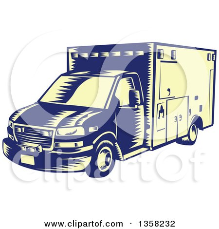 Clipart of a Retro Woodcut Blue and Pastel Yellow Ambulance Vehicle - Royalty Free Vector Illustration by patrimonio