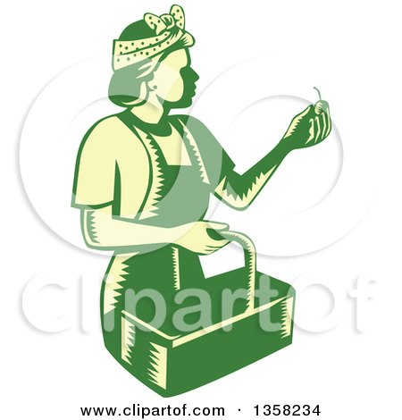 Clipart of a Retro Woodcut Green and Yellow Female Farm Worker Picking Cherries - Royalty Free Vector Illustration by patrimonio