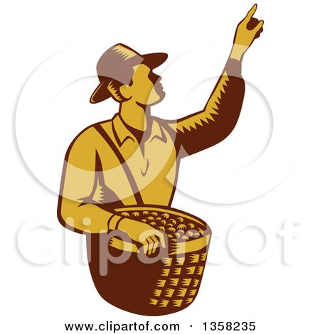 Clipart of a Retro Woodcut Brown and Yellow Male Farm Fruit Picker Worker Pointing and Holding a Basket - Royalty Free Vector Illustration by patrimonio