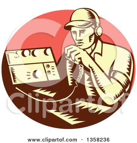 Clipart of a Retro Woodcut Yellow and Brown Male Ham Radio Operator Talking into a Transreceiver in a Pink Oval - Royalty Free Vector Illustration by patrimonio