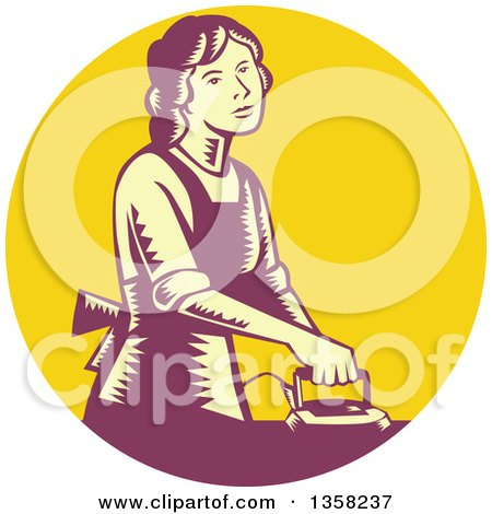 Clipart of a Retro Woodcut House Wife or Maid Ironing Laundry in a Yellow and Purple Circle - Royalty Free Vector Illustration by patrimonio