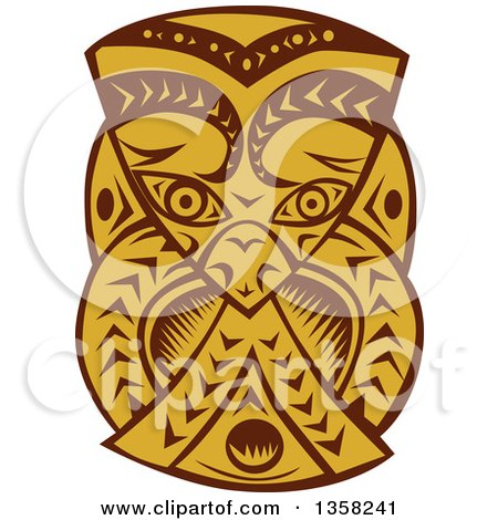 Clipart of a Retro Woodcut Brown and Orange Maori Mask - Royalty Free Vector Illustration by patrimonio