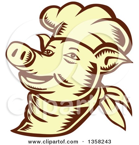 Clipart of a Retro Woodcut Brown and Yellow Chef Pig Face - Royalty Free Vector Illustration by patrimonio