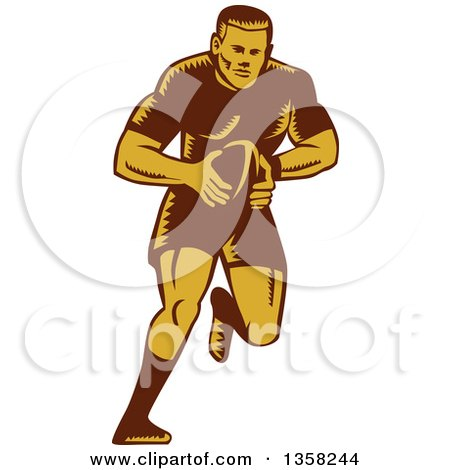 Clipart of a Retro Woodcut Male Rugby Player Running with the Ball - Royalty Free Vector Illustration by patrimonio