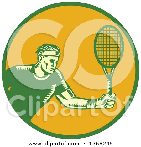 Clipart of a Retro Woodcut Male Tennis Player Athlete Holding a Racket in a Green and Orange Circle - Royalty Free Vector Illustration by patrimonio