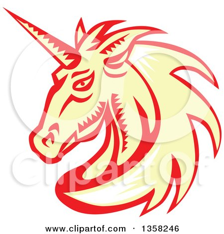 Clipart of a Retro Woodcut White, Yellow and Red Unicorn Head - Royalty Free Vector Illustration by patrimonio