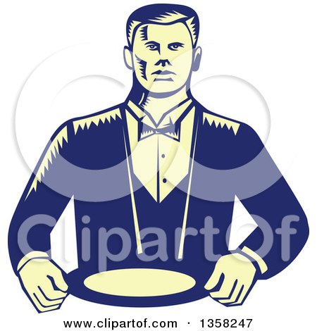 Clipart of a Retro Woodcut Yellow and Blue Male Waiter Wearing a Cravat and Holding a Plate - Royalty Free Vector Illustration by patrimonio