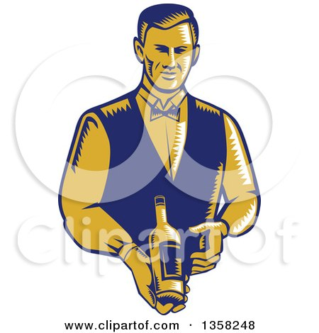 Clipart of a Retro Woodcut Orange and Blue Male Waiter Presenting a Wine Bottle - Royalty Free Vector Illustration by patrimonio