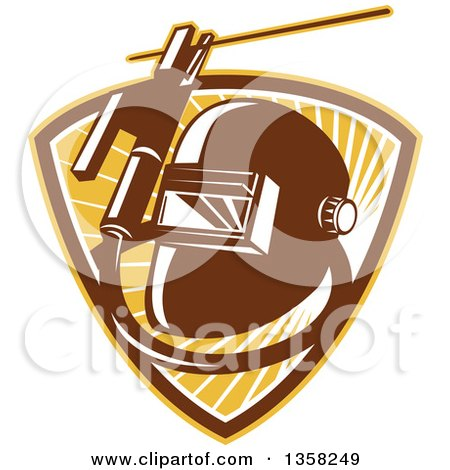 Clipart of a Retro Welder Visor Mask, Rold Holder with Cable and Electrode in a Shield of Sunshine - Royalty Free Vector Illustration by patrimonio