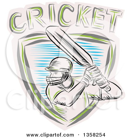 Clipart of a Sketched Cricket Batsman in a Shield with Text - Royalty Free Vector Illustration by patrimonio