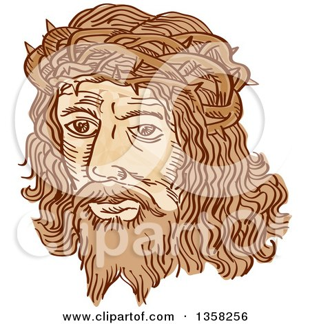 Clipart of the Etched Face of Jesus Christ Wearing the Crown of Thorns - Royalty Free Vector Illustration by patrimonio