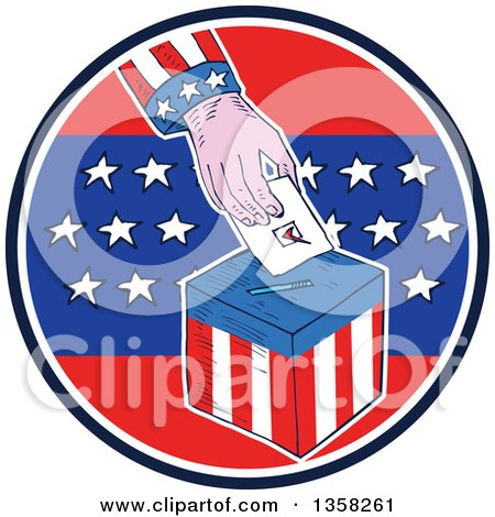 Clipart of a Sketched Hand Putting a Ballot in a Box Inside an American Circle - Royalty Free Vector Illustration by patrimonio