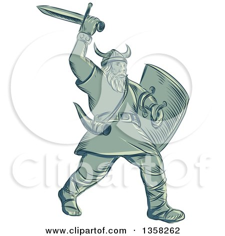 Clipart of a Retro Sketched or Engraved Viking Warrior Holding a Shield and Wielding a Sword - Royalty Free Vector Illustration by patrimonio