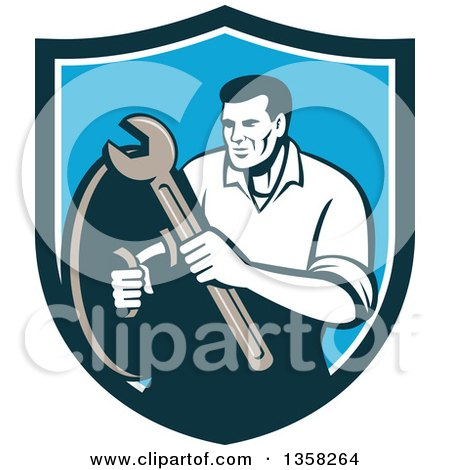 Clipart of a Retro Male Mechanic Holding a Wrench and Shield Inside a Blue and White Shield - Royalty Free Vector Illustration by patrimonio