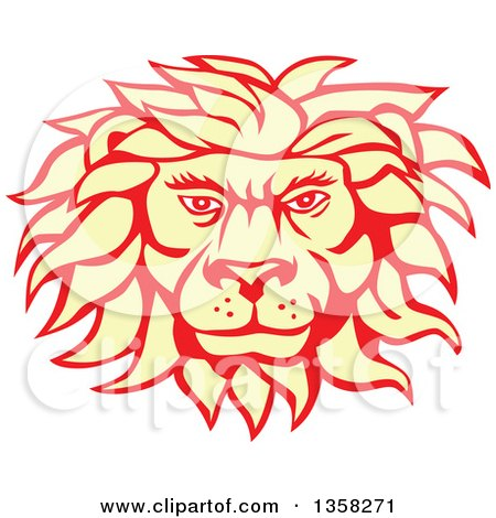 Clipart of a Retro Pastel Yellow and Red Male Lion Face - Royalty Free Vector Illustration by patrimonio